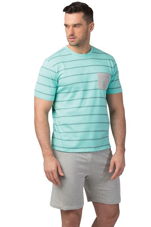 Pánské bavlněné pyžamo Oliver tyrkysové