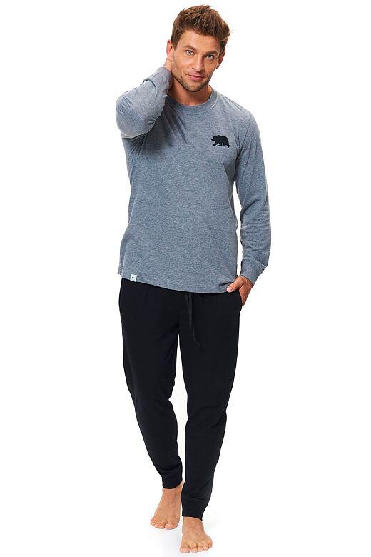 Bavlněné pánské pyžamo Bear šedé XXL