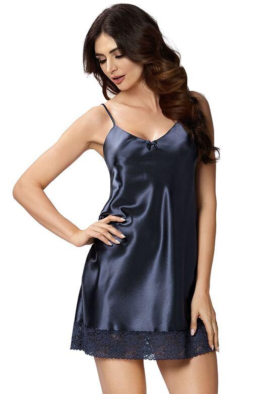 Luxusní saténová košilka Karen tmavě modrá S - Dárkové balení
