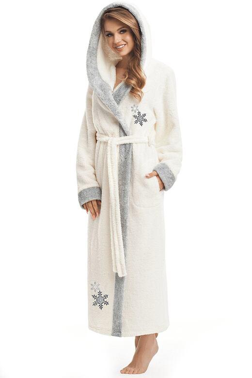 Dlouhý dámský župan Snowflake s výšivkou vločky XL