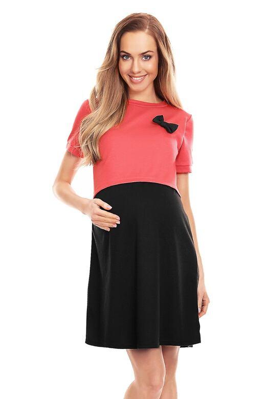 Těhotenské a kojící šaty Lydie korálovočerné