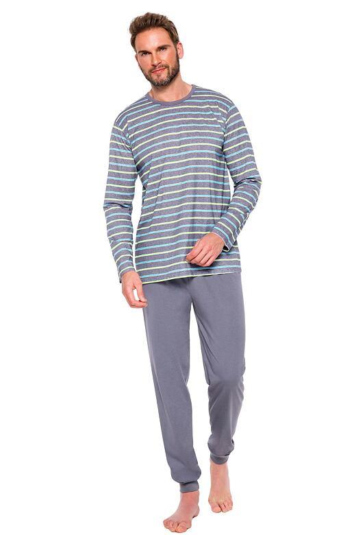 Pánské pyžamo Max IX šedé s proužky S