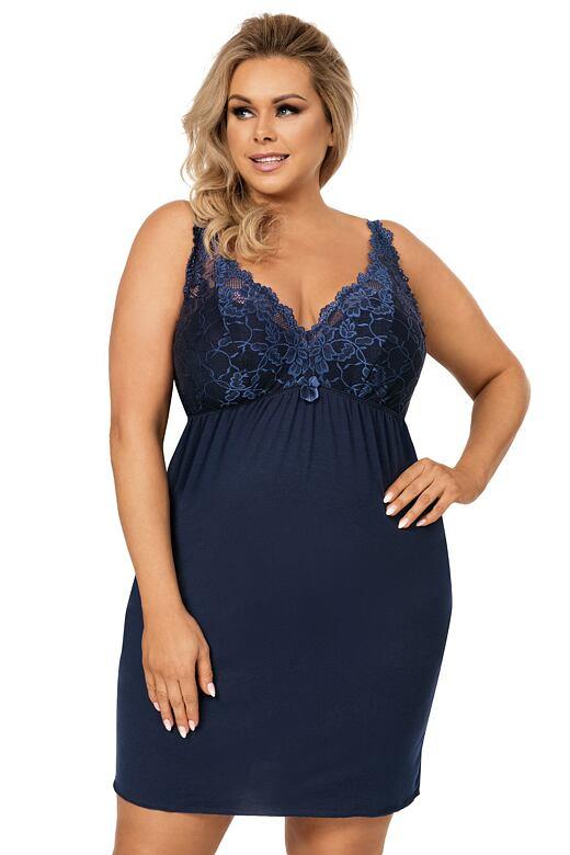 Luxusní dámská košilka Lucia tmavě modrá 3XL - Dárkové balení