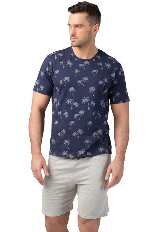 Pánské bavlněné pyžamo Lewis tmavě modré XXL