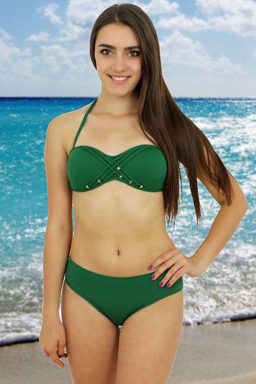 6ed95ffce961 Dvoudilne plavky flirt push up zelene levně