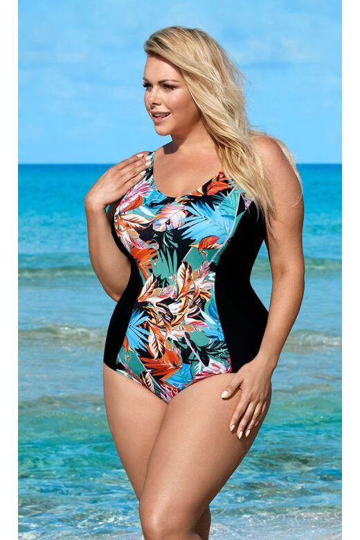 Jednodílné zeštíhlující plavky Natali se vzorem