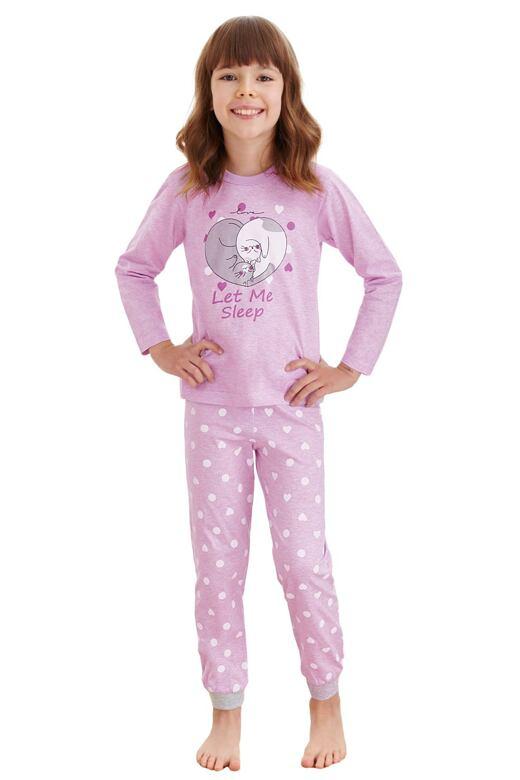 Levně Dívčí pyžamo Elza fialové kočky 92