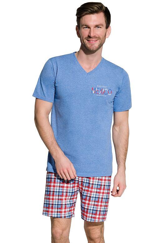 Pánské bavlněné pyžamo Boris modré XXL