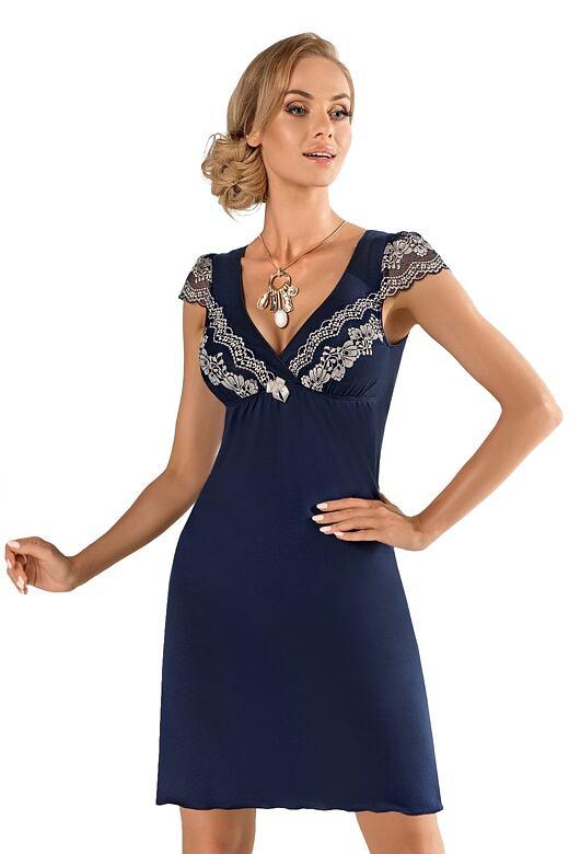 Luxusní dámská košilka z viskózy Aura modrá S - Dárkové balení