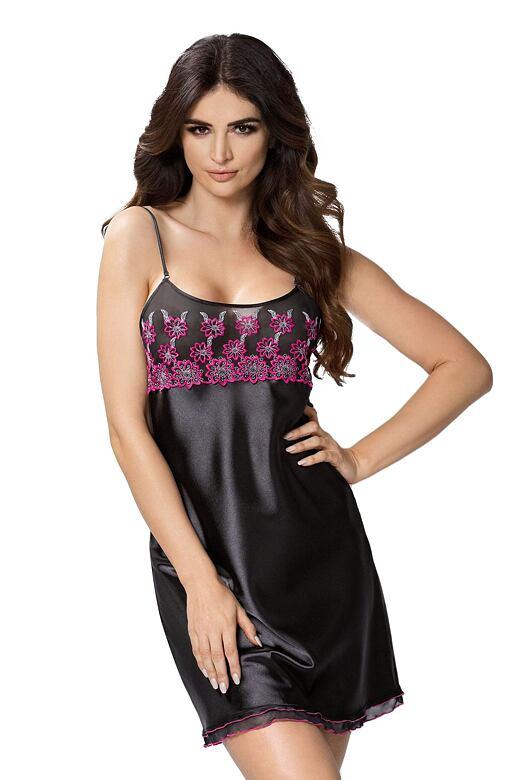 Luxusní saténová noční košilka Janette černá S - Dárkové balení