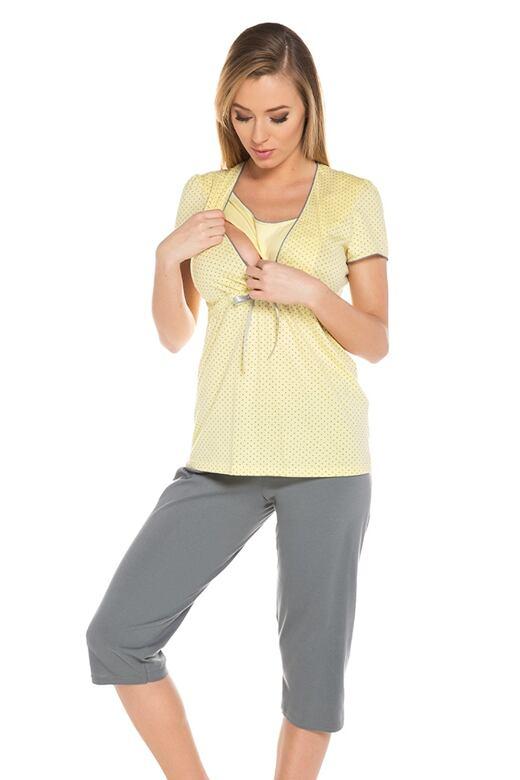 Těhotenské a kojící pyžamo Felicita žluté