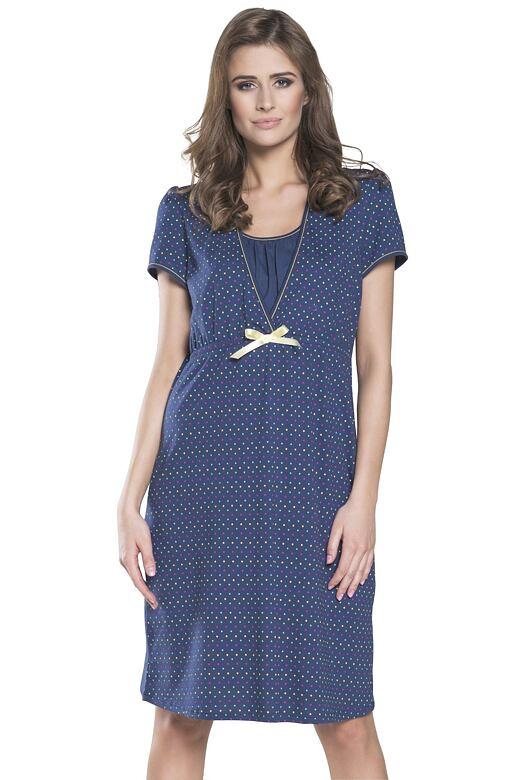 Těhotenská a kojící noční košile Tulia tmavě modrá s puntíky