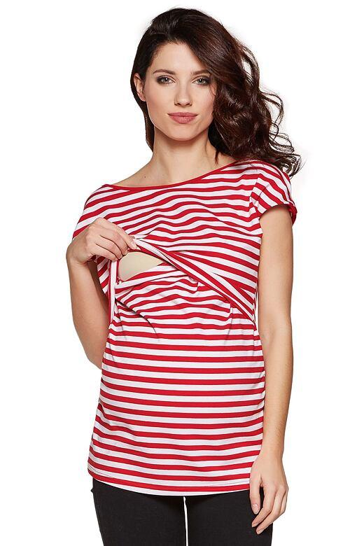 Těhotenské a kojicí triko Daisy červené L