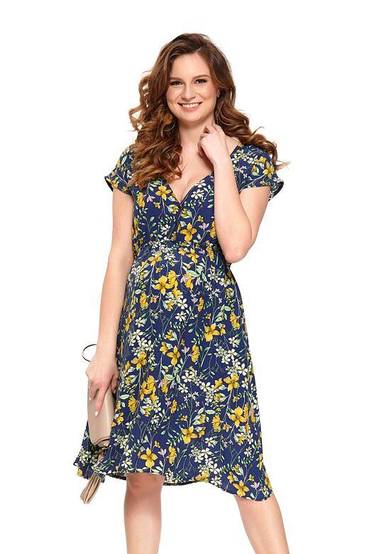Letní mateřské šaty Marcela modré XL - Dárkové balení