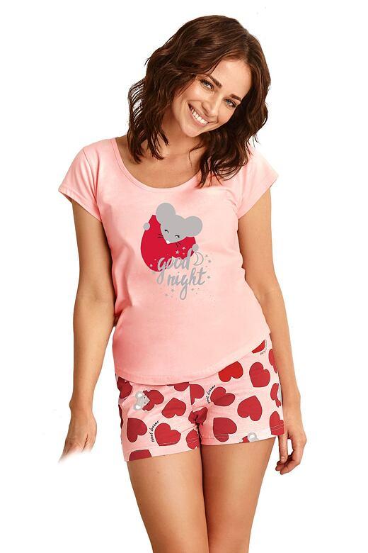 Levně Dámské pyžamo Eva růžové se srdíčky M