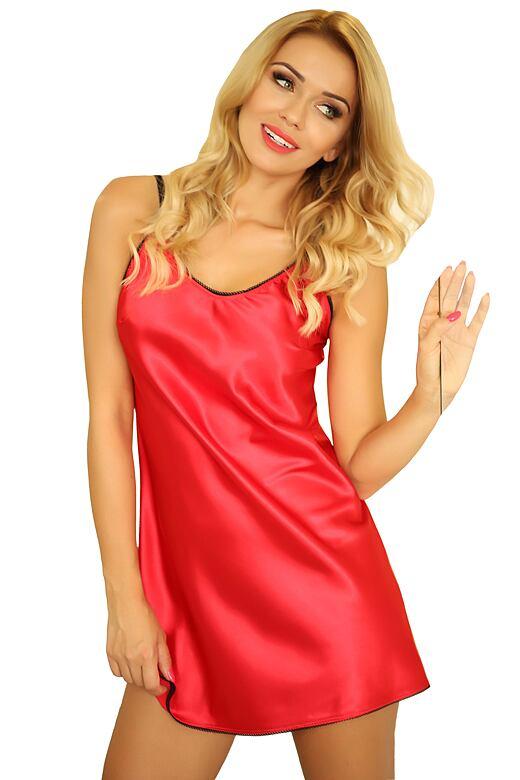 Saténová noční košilka Malaga červená