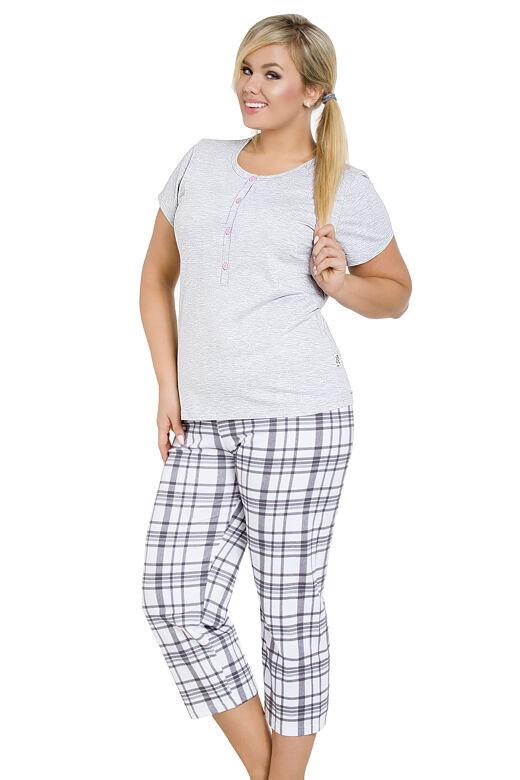 46486a99dee0 Dámské šedé pyžamo pro plnoštíhlé Teresa