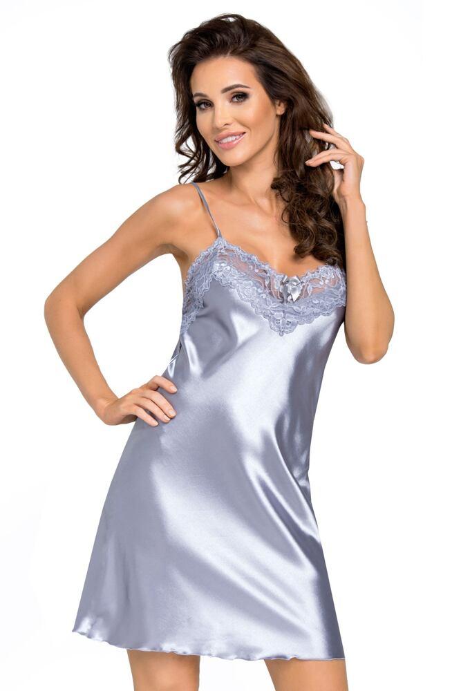 Saténová košilka Eva silver velikost S