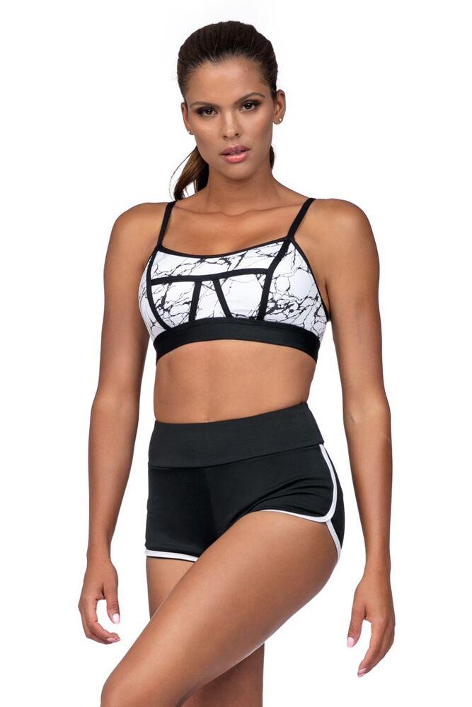 Fitness šortky Amy černé bílý lem velikost S