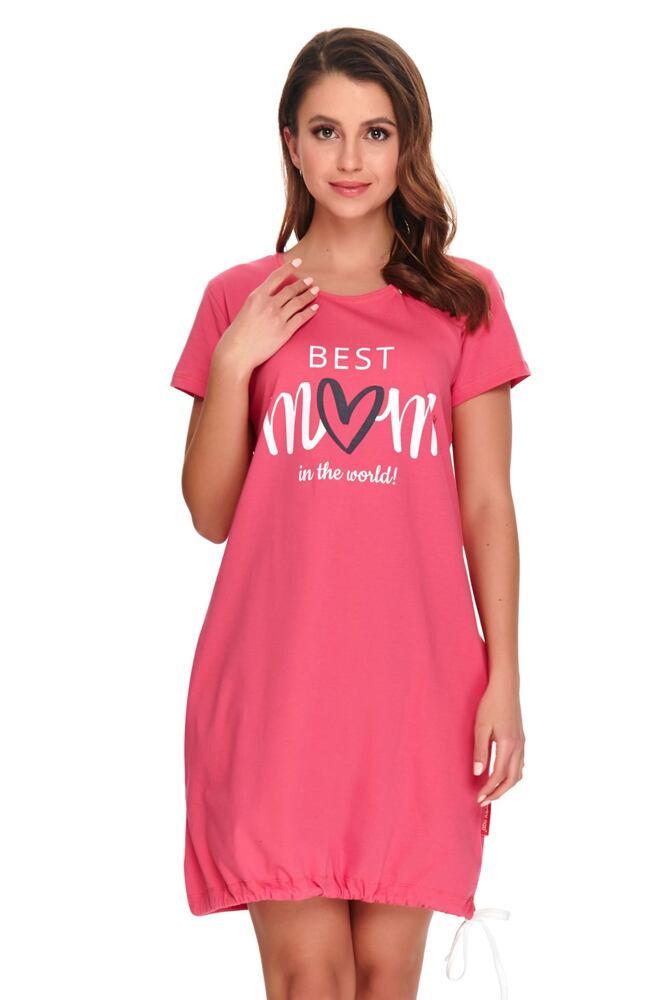 Kojicí noční košile Best mom 2 růžová velikost S