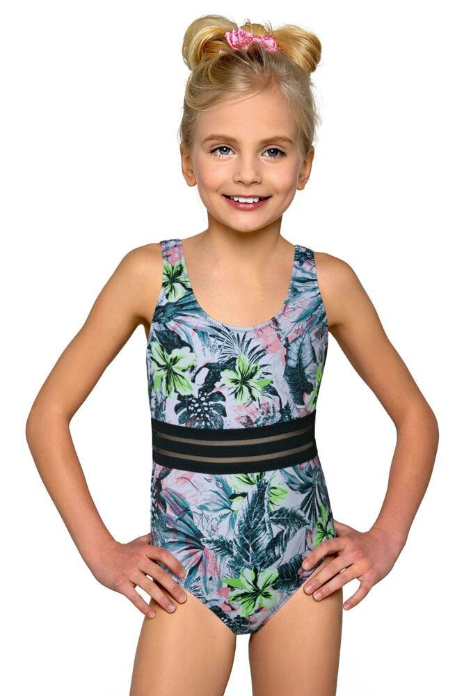 Klasické jednodílné dívčí plavky Adrianka květinové velikost 140