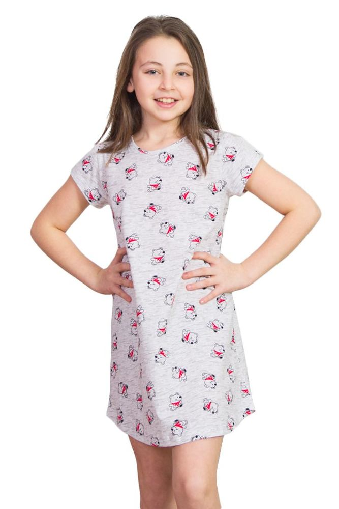 Dívčí noční košile Lucky Bear méďa šedá velikost 104