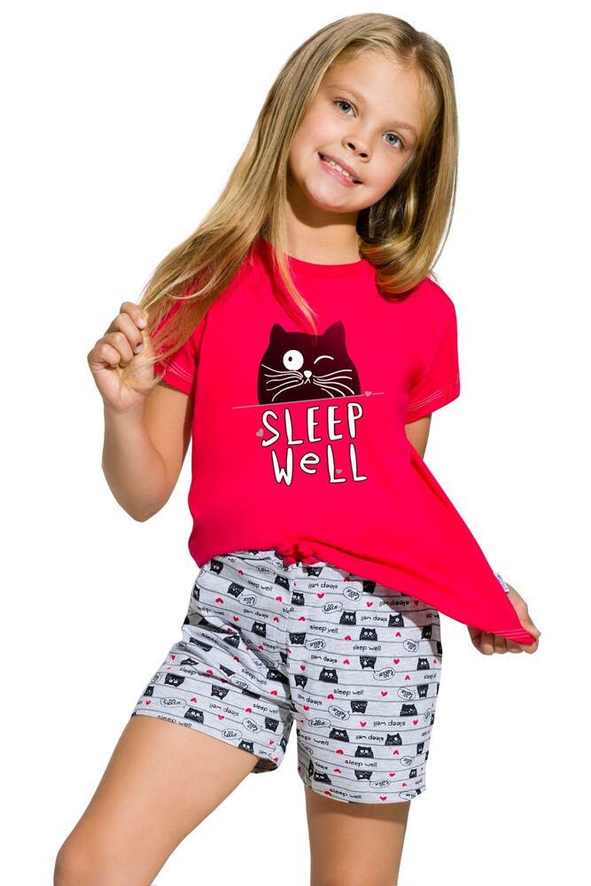 Dívčí bavlněné pyžamo s kočkou Hanička malinové velikost 110