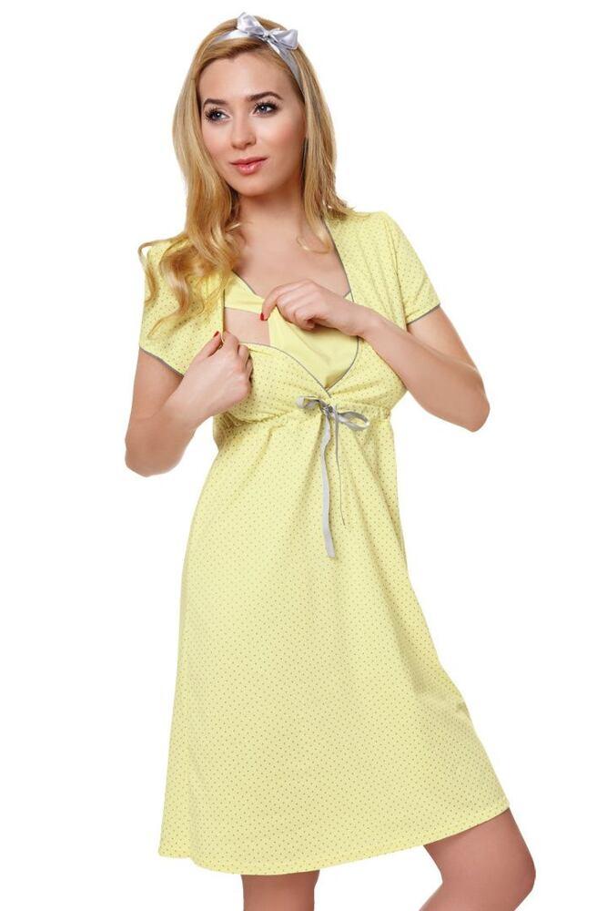 Bavlněná těhotenská noční košile Felicita žlutá velikost S
