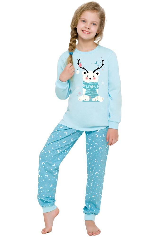 Dívčí vánoční pyžamo s medvídkem Ada modré velikost 110