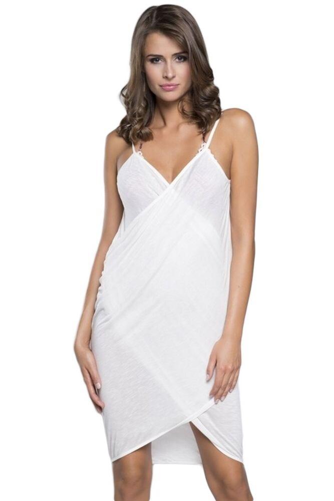 Plážové šaty na ramínka ecru velikost L/XL
