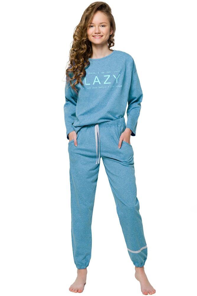 Dívčí pyžamo Jula modré s kapsami velikost 146