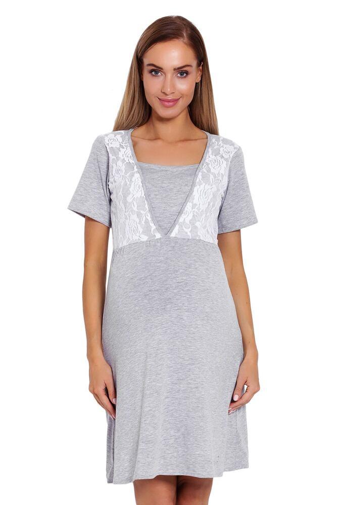 Mateřská noční košile  Lilia šedá s krajkou velikost S/M