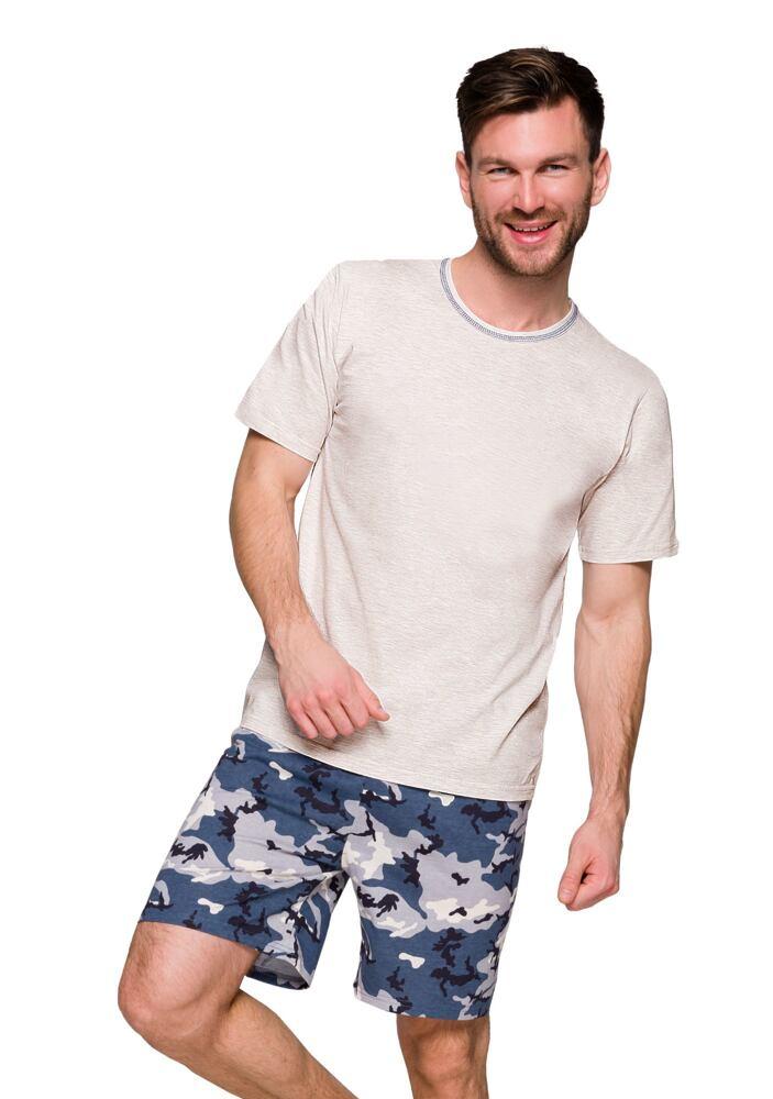 Pánské pyžamo Šimon béžové krátké velikost S