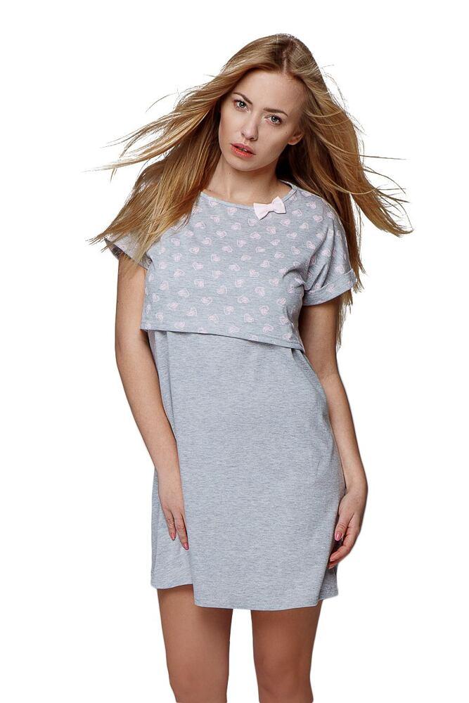 Mateřská košile Katerina šedá se srdíčky velikost XL