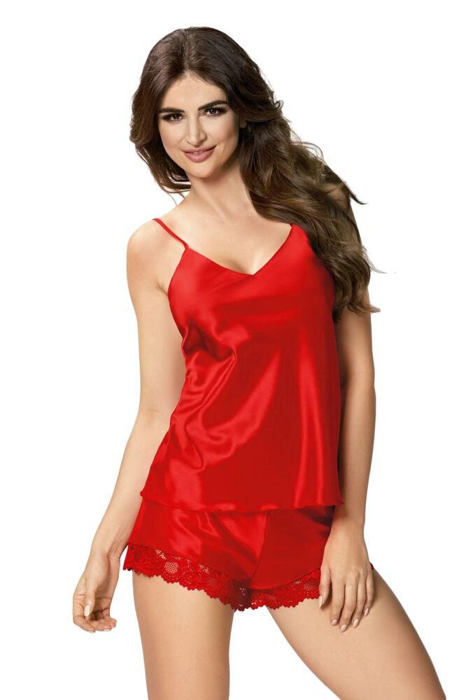 Dámské saténové pyžamo Karen červené velikost S
