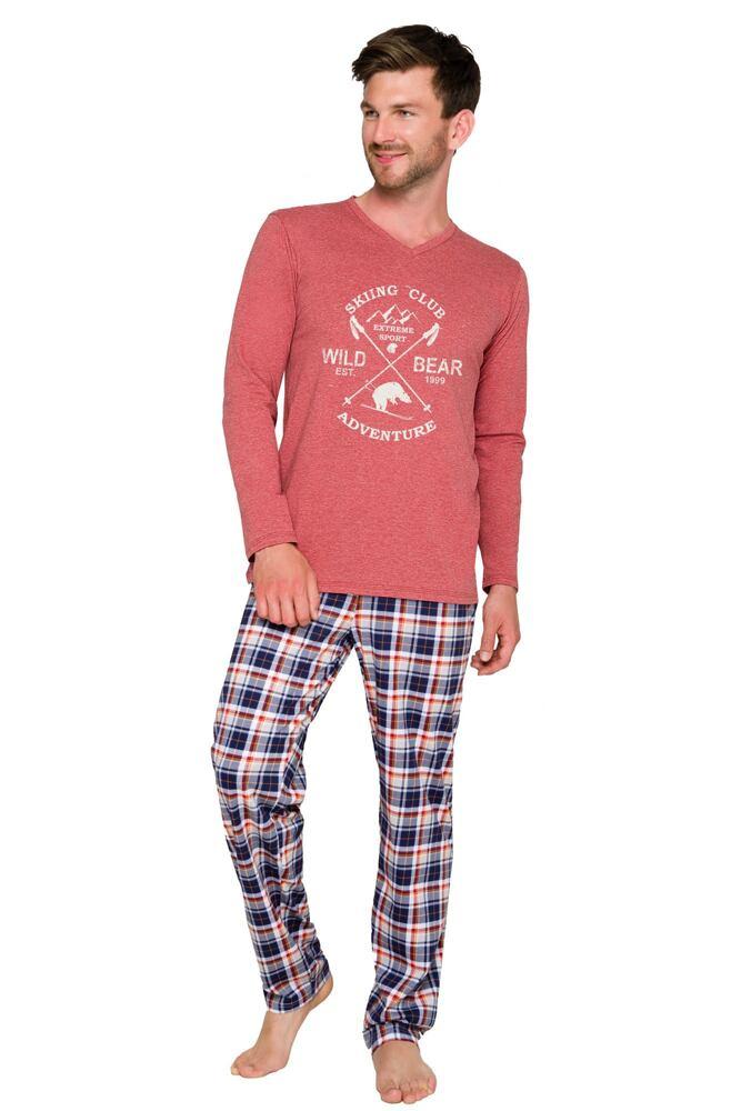 Pánské bavlněné pyžamo Artur vínové dlouhé velikost XXL