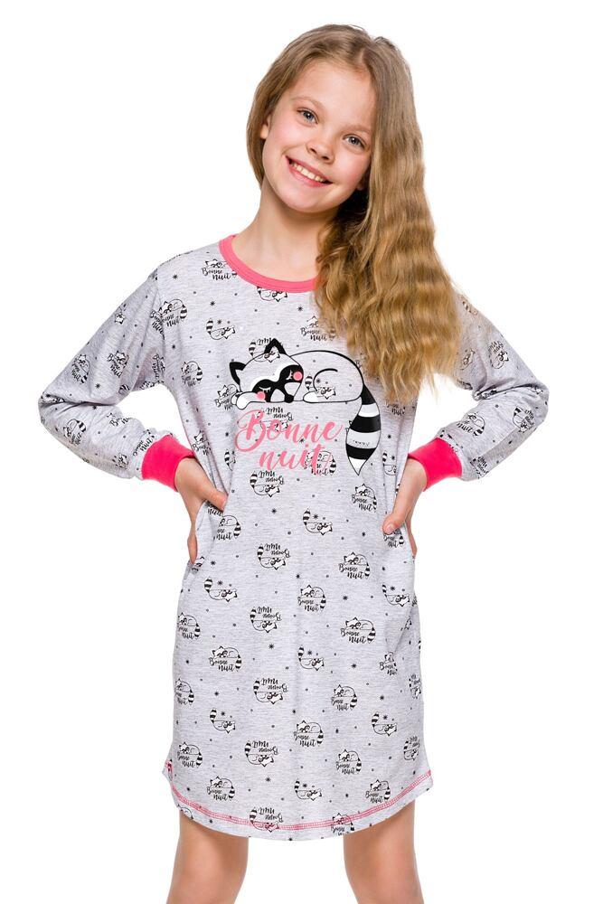 Dívčí noční košilka Malina šedá s mývalem velikost 110
