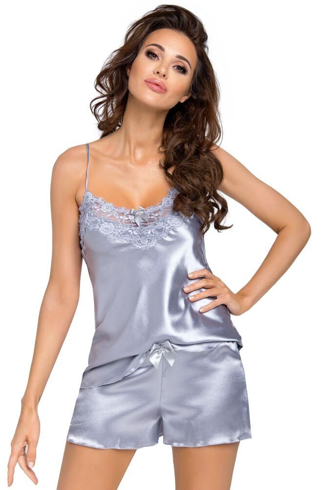 Luxusní saténové pyžamo Eva silver velikost S