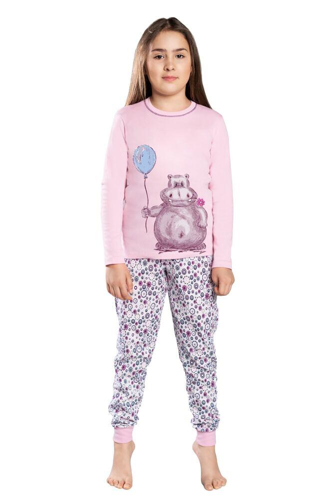 Dívčí pyžamo Lira růžové hroch velikost 98