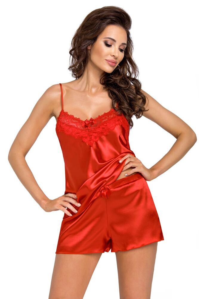 Luxusní saténové pyžamo Eva červené velikost L