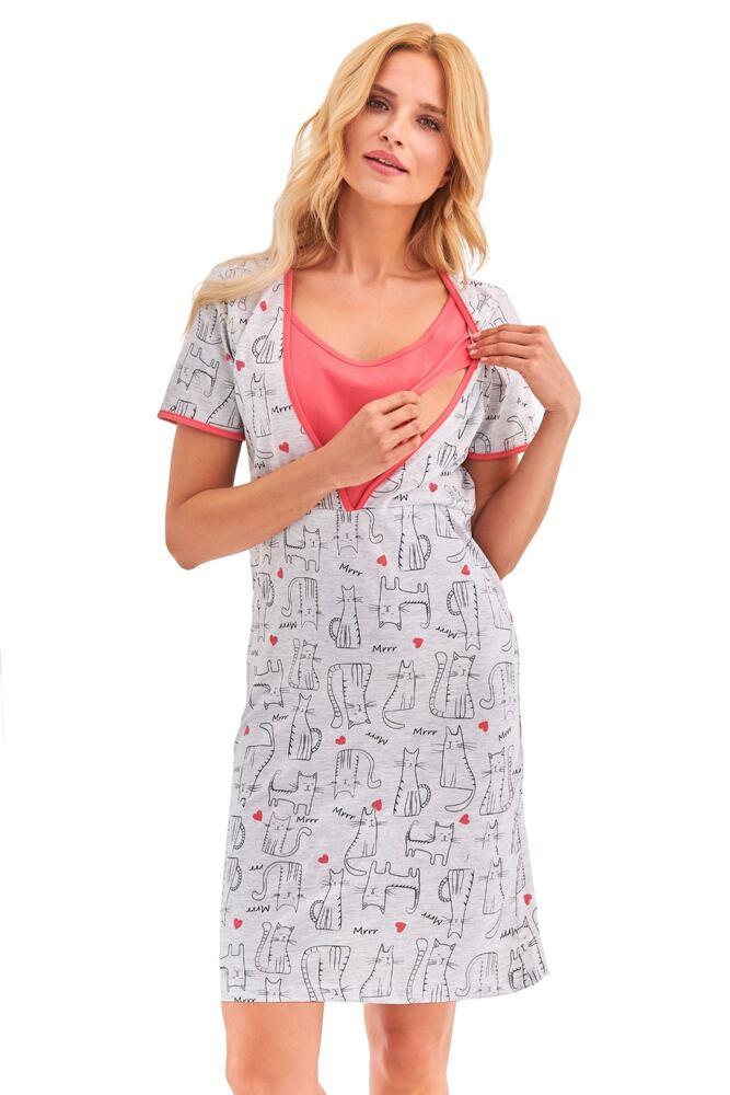 Mateřská noční košile Linda šedá kočičky velikost S