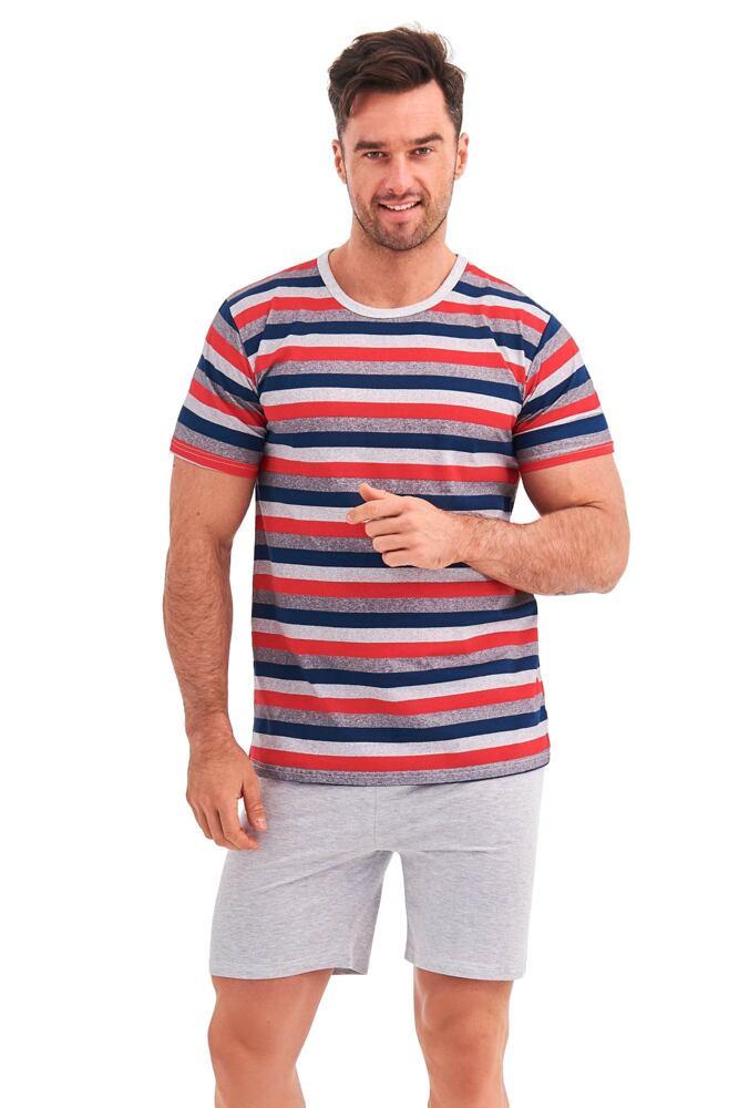 Krátké pyžamo Max červené proužky velikost S