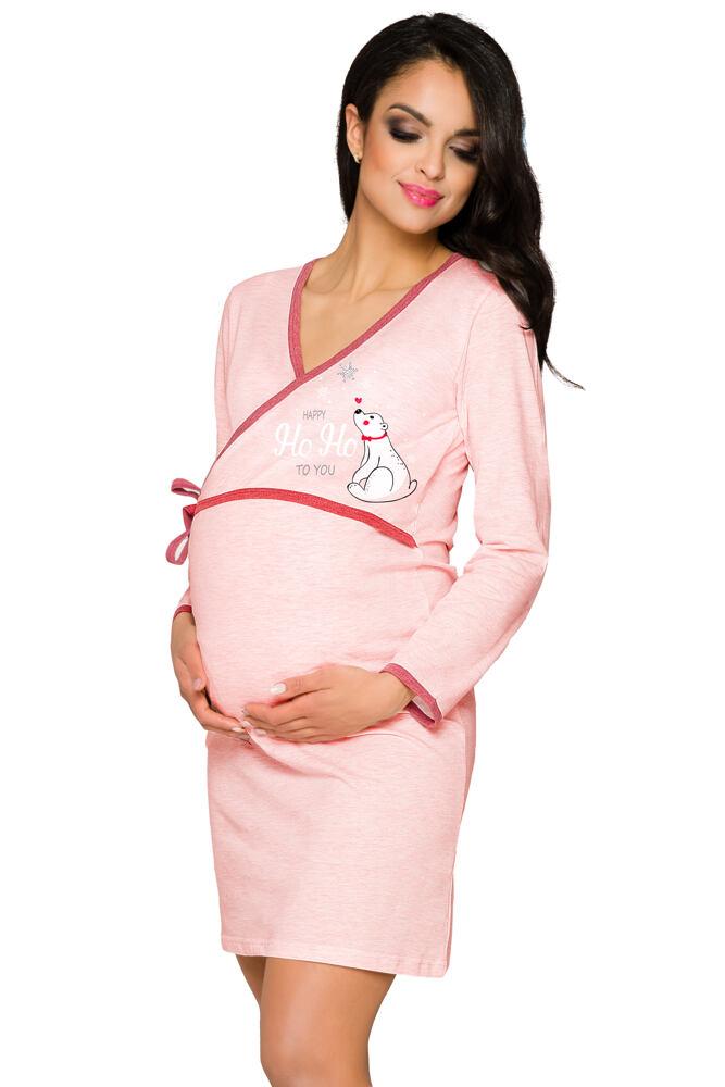 Těhotenská a kojicí košile Anne světle růžová velikost L