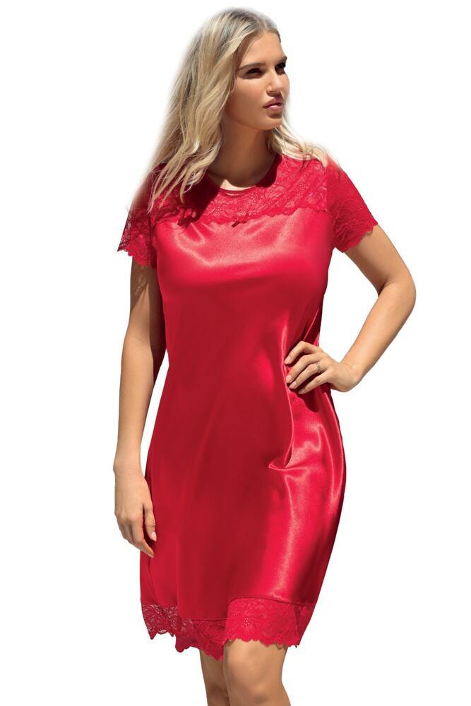 Saténová noční košilka Louise červená velikost S
