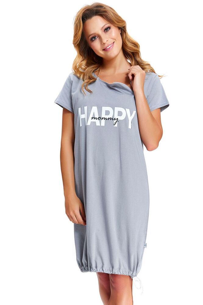 Mateřská noční košile Happy Mommy šedá zip velikost S