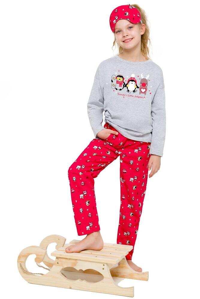 Dívčí pyžamo s tučňákem Sofinka šedočervené velikost 122