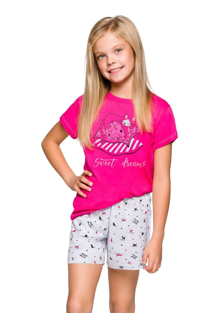 Dívčí pyžamo Hanička růžové s kočičkou velikost 86