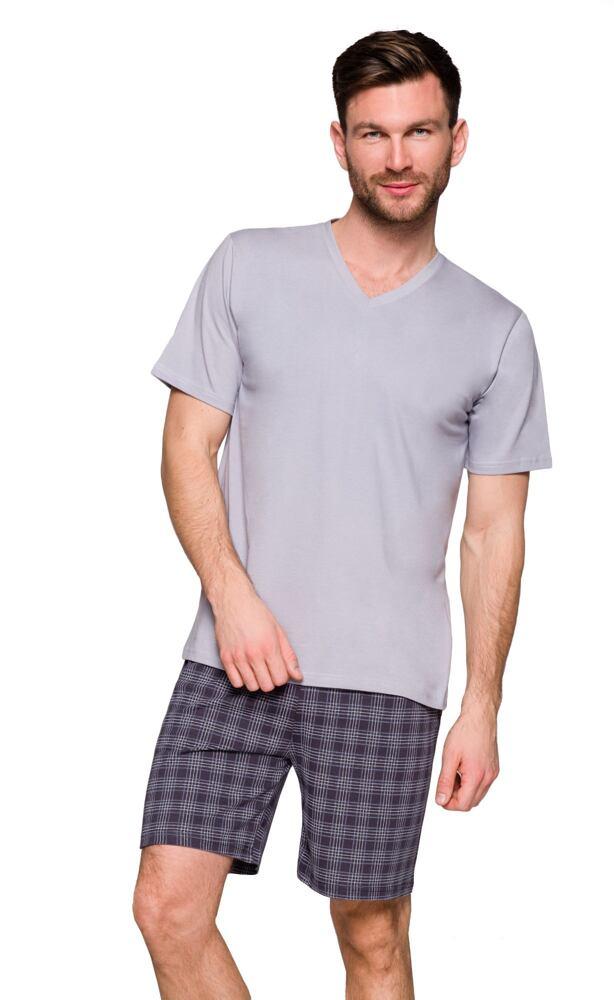 Pánské bavlněné pyžamo Boris šedé velikost XXL