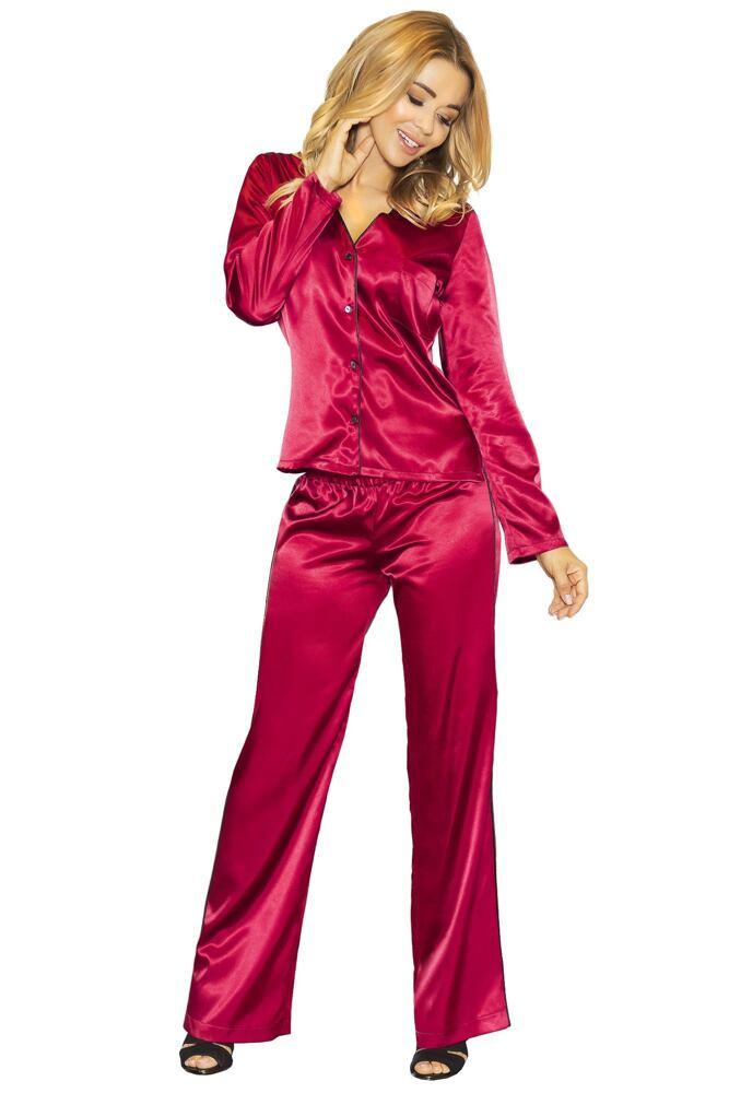 Saténové pyžamo Termi vínové velikost S