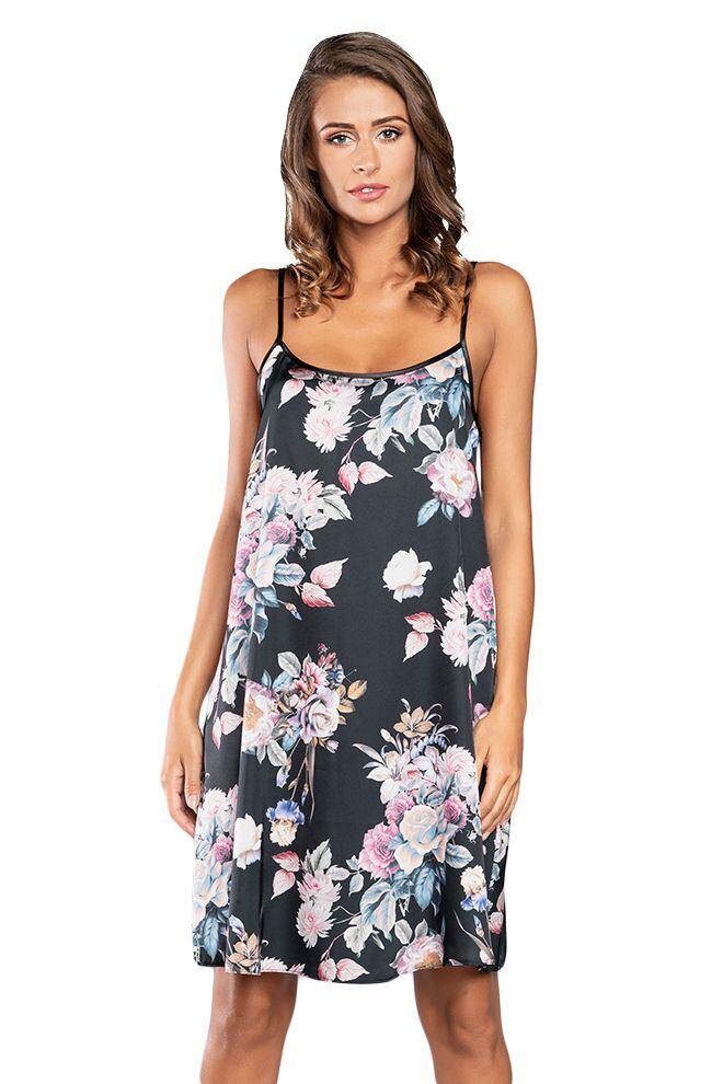 Saténová košilka Santorini černá s květy velikost S